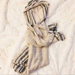 Roxy | Striped Pullover Knit Hoodie Medium
